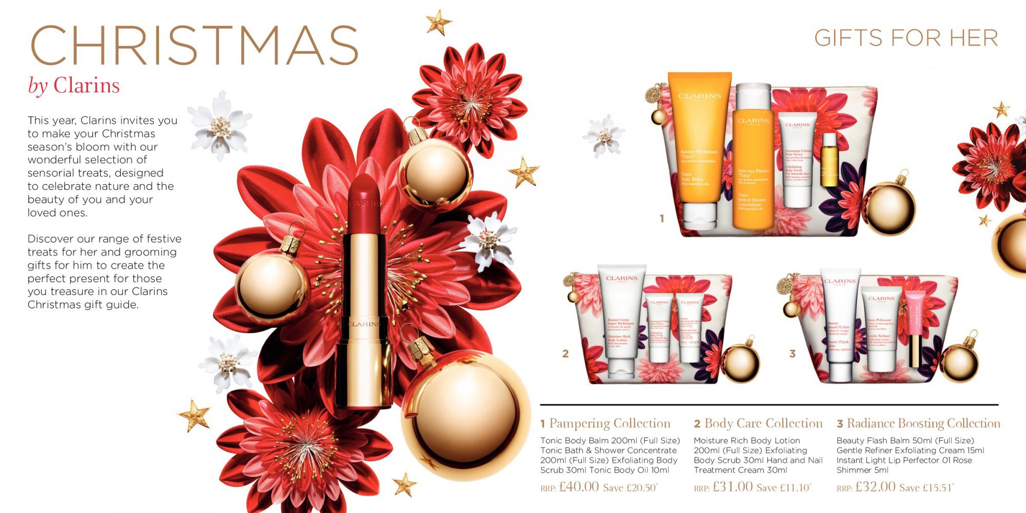 Clarins Brochure Christmas Gifts Spread 1 - Gifts for Her and Visual 2018