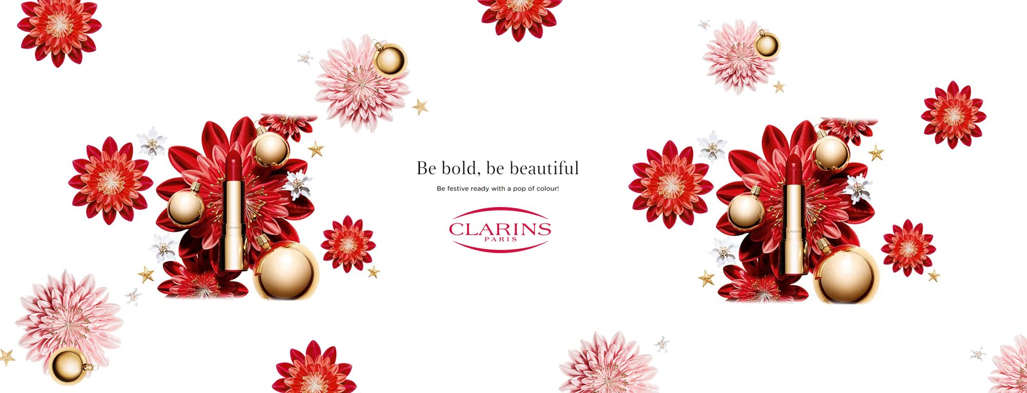 Clarins Christmas Make-Up Lip Red Flowers Banner 2018