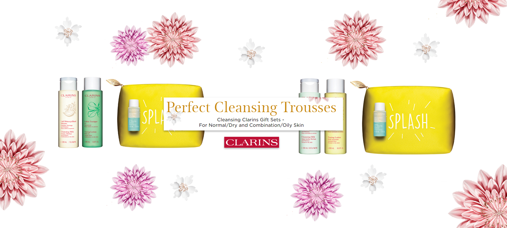 Clarins Perfect Cleansing Trousses Gift Set Splash Banner 2019