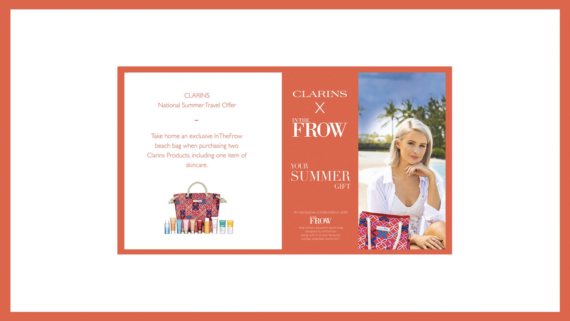 Clarins National Summer Travel Offer Banner Border Frow 2019