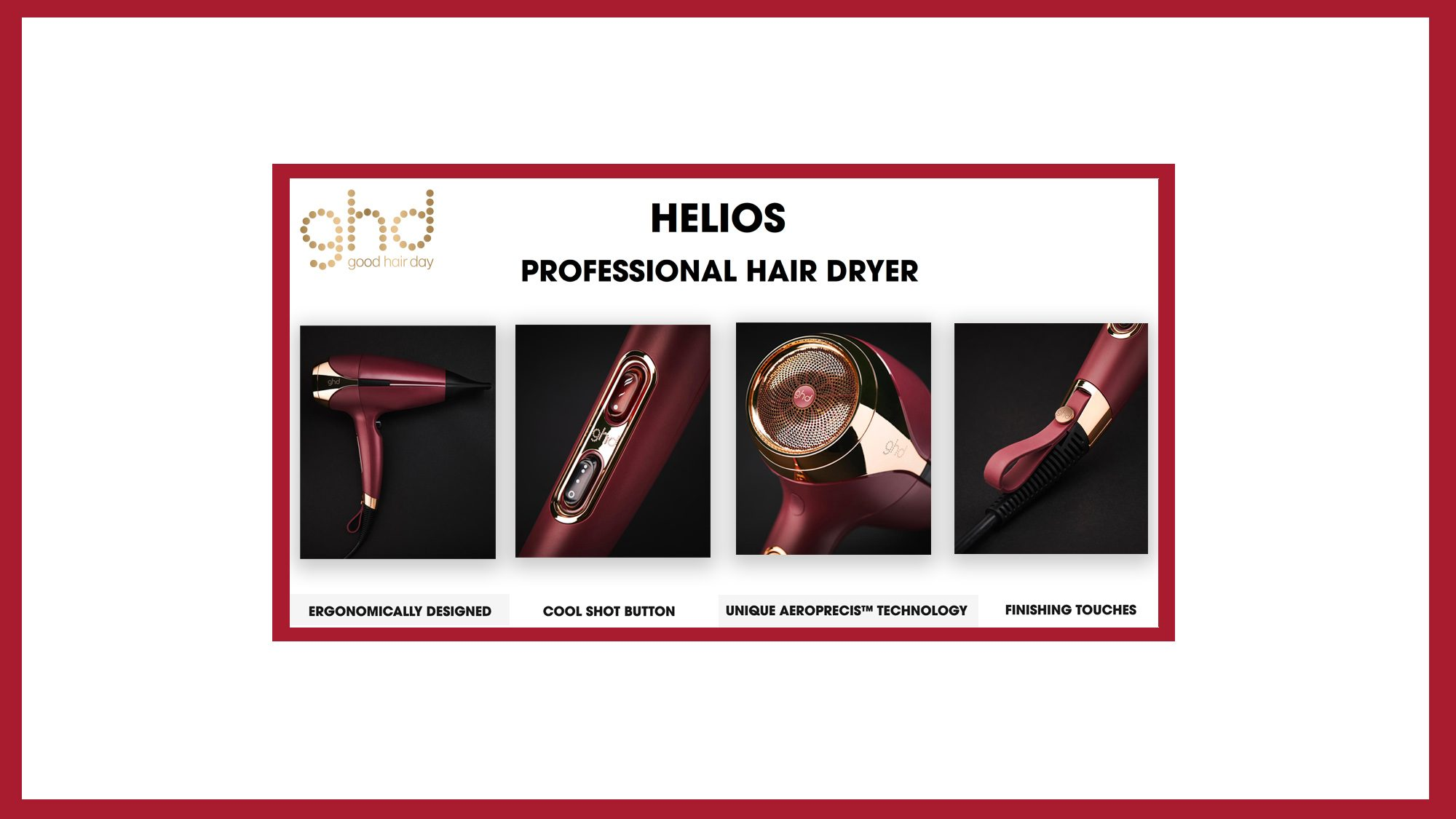 ghd NEW Helios Professional Hair Dryer Blow Dry Red Banner 2020